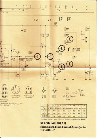 Schaltplan RFT Kofferradio Stern-Sport, Stern Format