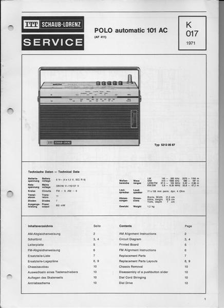 ITT Polo automatic 101 AC Schaltplan