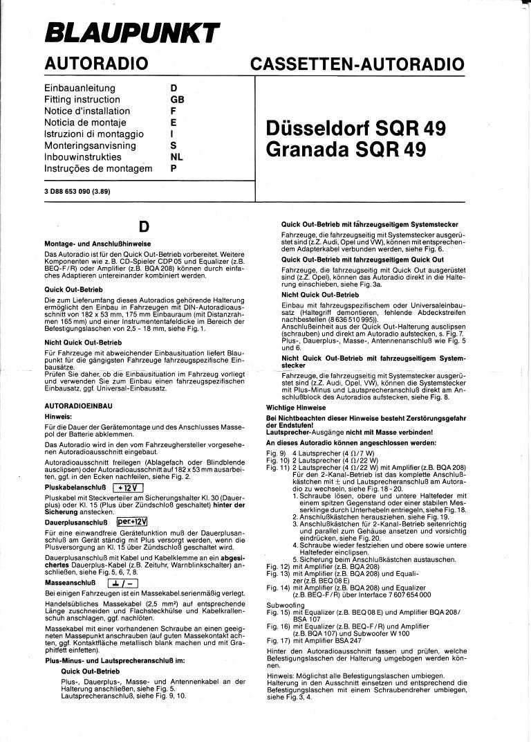 Einbauanleitung Blaupunkt Düsseldorf SQR49 Granada SQR49