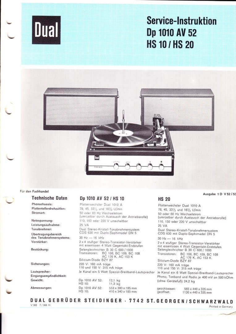 Dual Dp 1010 AV52 / HS 10 / HS 20 Service-Information Schaltplan
