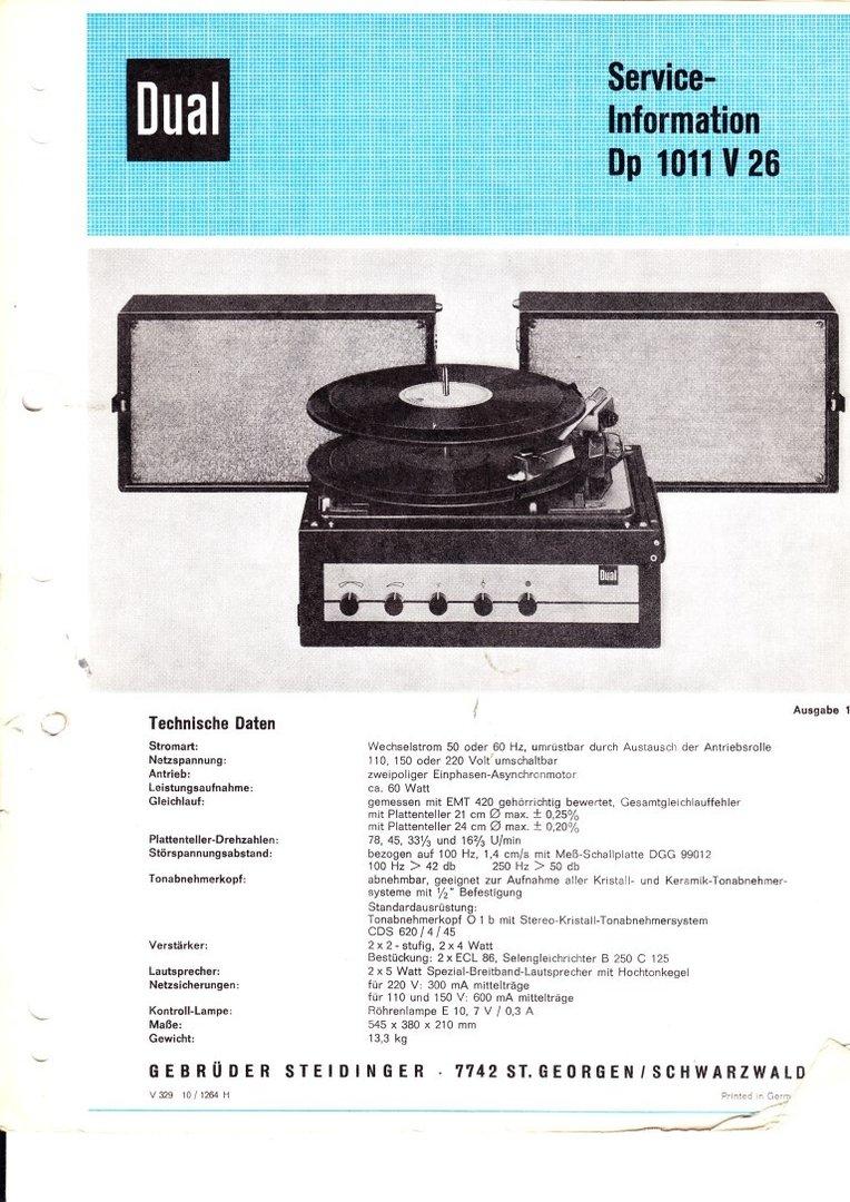 Dual Dp 1011 V26 Service-Information Schaltplan