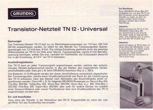 Schaltplan Grundig TN12 Netzteil