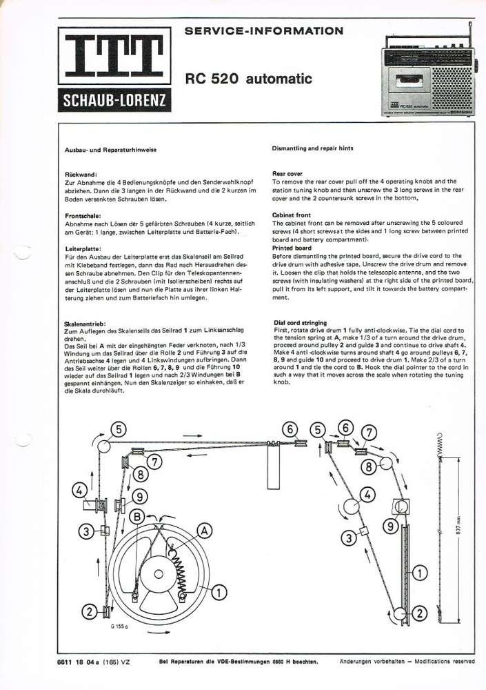 Service Information Schaltplan ITT RC520 automatic