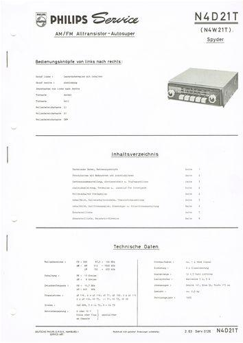 Philips N4D21T Spyder Autoradio Schaltplan